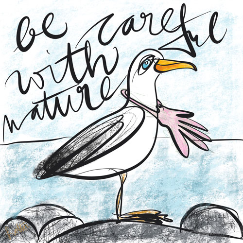 Illustration Möwe Be careful with nature